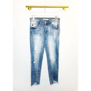 Kancan   Seamed Distressed Raw Hem Skinny Jeans